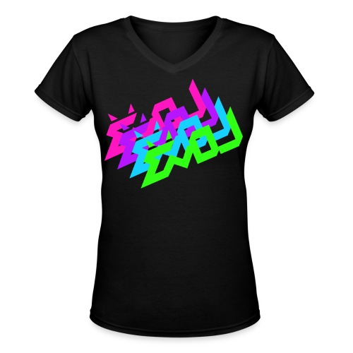 Evol Logo in Multicolor Women's V-Neck - Women's V-Neck T-Shirt