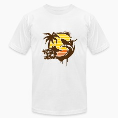 Surfing graffiti - Palm, hibiscus, island, wave and surfer with surfboard  T-Shirts