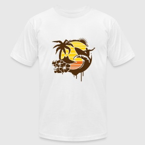Surfing graffiti - Palm, hibiscus, island, wave and surfer with surfboard  T-Shirts - Men's T-Shirt by American Apparel