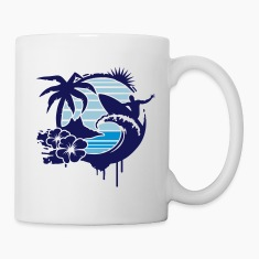Surfing graffiti - Palm, hibiscus, island, wave and surfer with surfboard  Bottles & Mugs