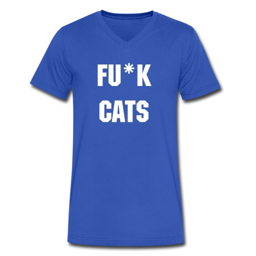 F*ck Cats V-neck - M - Men's V-Neck T-Shirt by Canvas