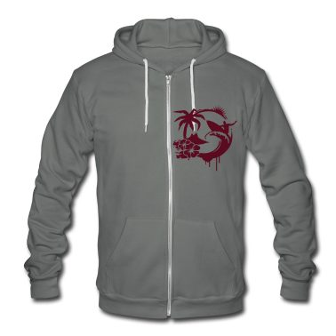 Surfing graffiti - Palm, hibiscus, island, wave and surfer with surfboard  Zip Hoodies/Jackets