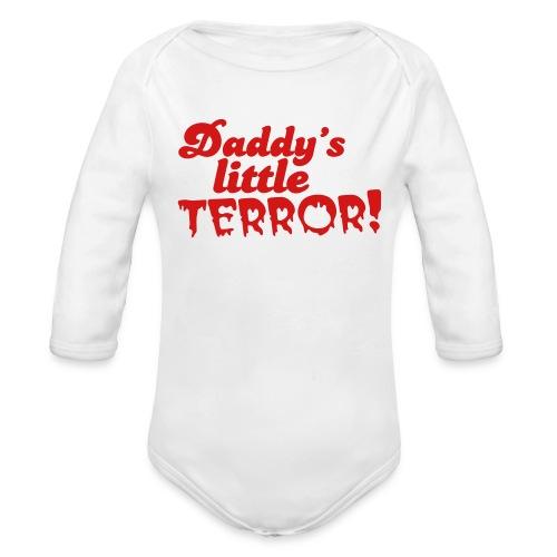Daddy's little terror - Organic Long Sleeve Baby Bodysuit