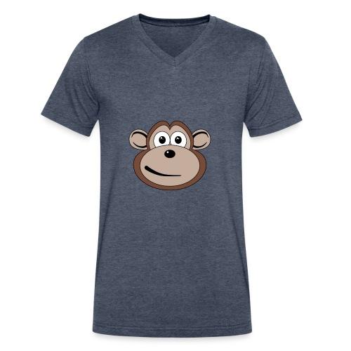 Cartoon Monkey Face - Men's V-Neck T-Shirt by Canvas
