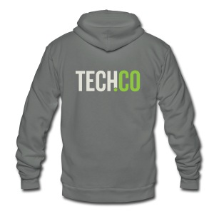 TechCo Grey Hoodie - Unisex Fleece Zip Hoodie by American Apparel