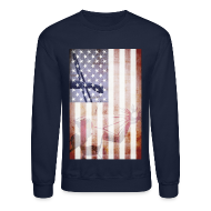 Long Sleeve Shirts ~ Crewneck Sweatshirt ~ Detroit Spirit USA Flag