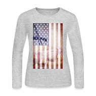 Long Sleeve Shirts ~ Women's Long Sleeve Jersey T-Shirt ~ Detroit Spirit USA Flag