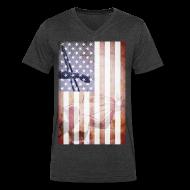 T-Shirts ~ Men's V-Neck T-Shirt by Canvas ~ Detroit Spirit USA Flag