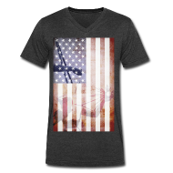 T-Shirts ~ Men's V-Neck T-Shirt by Canvas ~ Detroit Spirit USA Flag
