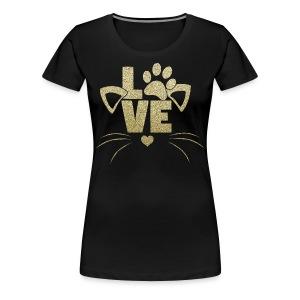 LOVE - Cats - GOLD Glitter - Women's Premium T-Shirt