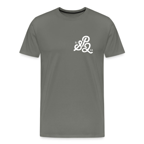 SP2 Mens Shirt - Grey & White Text - Men's Premium T-Shirt