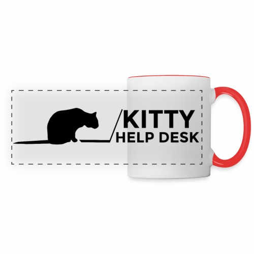 Kitty Help Desk Mug - White & Red - Panoramic Mug