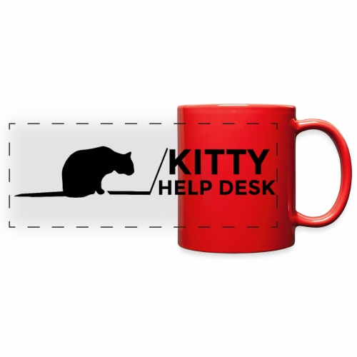 Kitty Help Desk Mug - Red - Full Color Panoramic Mug
