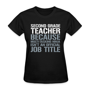 Second Grade Teacher... Ninja Isn't an Official Job Title | White + Metallic Silver - Women's T-Shirt