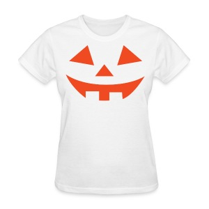 Women's t-shirt * Jack-o'-lantern (pumpkin face 2) (white) - Women's T-Shirt