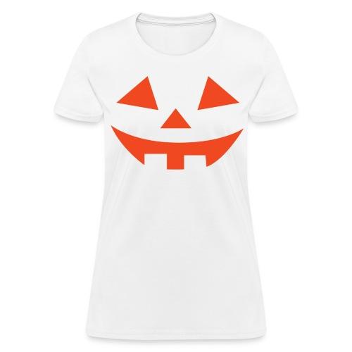 Women's t-shirt * Jack-o'-lantern (pumpkin face 2) (white) - Women's T-Shirt