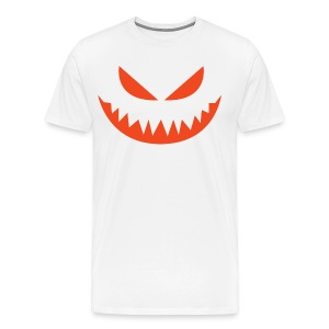Men's premium t-shirt * Jack-o'-lantern (pumpkin face 4) (white) - Men's Premium T-Shirt