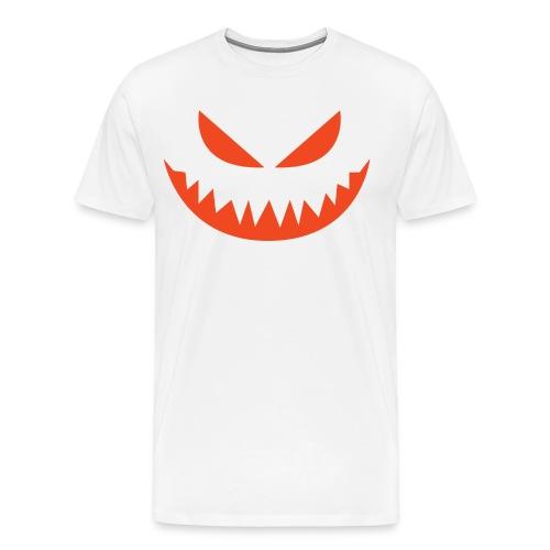 Men's premium t-shirt * Jack-o'-lantern (pumpkin face 4) (white) - Men's Premium T-Shirt