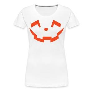 Women's premium t-shirt * Jack-o'-lantern (pumpkin face 5) (white) - Women's Premium T-Shirt