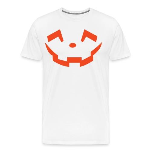 Men's premium t-shirt * Jack-o'-lantern (pumpkin face 5) (white) - Men's Premium T-Shirt