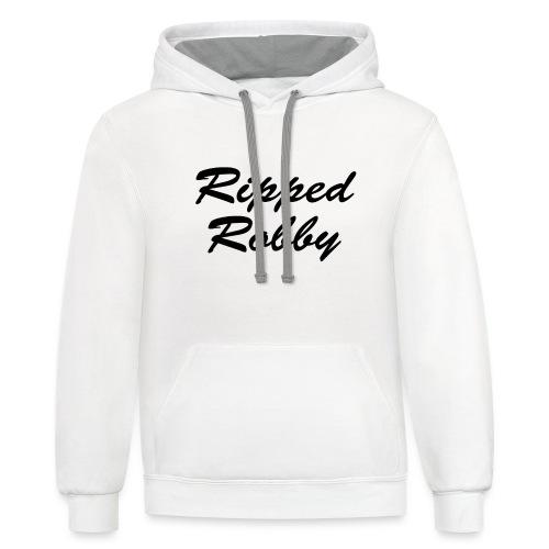 White Ripped Robby Hoodie! - Contrast Hoodie
