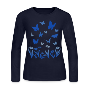 Butterfly Shirts Women's Blue Butterfly Long Sleeve Shirt - Women's Long Sleeve Jersey T-Shirt