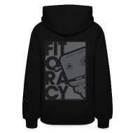 Hoodies ~ Women's Hoodie ~ Fitocracy - FRED Gray Graphic - Women's Black Hoodie