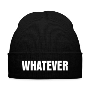 WHATEVER beanie hat - Knit Cap with Cuff Print