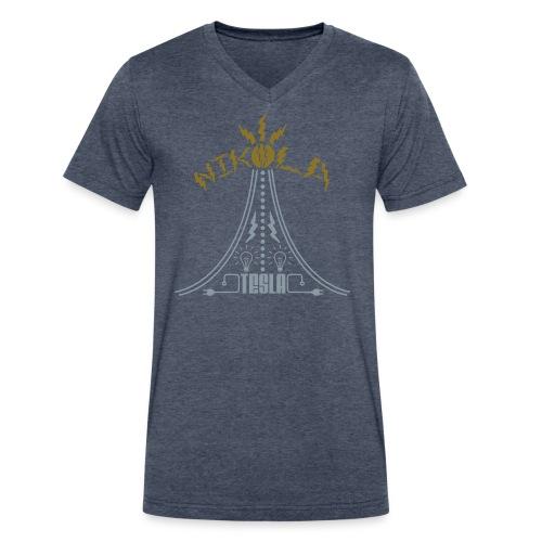 Specialty V-Neck Nikola Tesla Shirt - Gold and Silver Design (Men's) - Men's V-Neck T-Shirt by Canvas