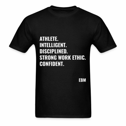 Athlete Intelligent Disciplined Strong Work Ethic Confident Black Males Black Men's T-shirt Clothing by Stephanie Lahart. - Men's T-Shirt