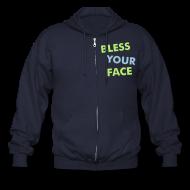 Zip Hoodies & Jackets ~ Men's Zip Hoodie ~ Bless Your Face Zip Hoodie