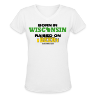 T-Shirts ~ Women's V-Neck T-Shirt ~ Born in Wisconsin (Digital Print)