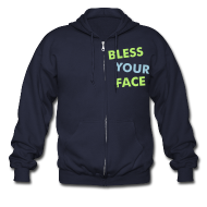 Zip Hoodies & Jackets ~ Men's Zip Hoodie ~ Bless Your Face/Peace Off (two-sided)