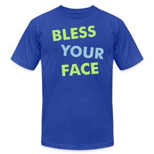 Bless Your Face/Peace Off (two-sided) - American Apparel - Men's Fine Jersey T-Shirt