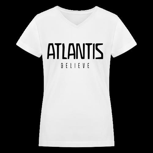 ATLANTIS BELIEVE - Women's V-Neck T-Shirt