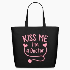 KISS ME I'm a Doctor! with love heart stethoscope Bags