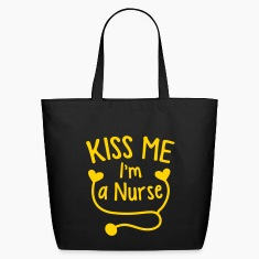 KISS ME I'm a NURSE! with love heart stethoscope Bags