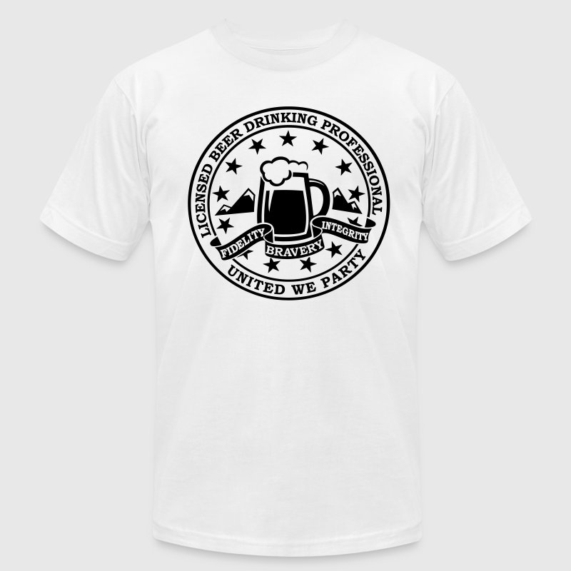 Funny i love beer alcohol drinking license badge t-shirts for drunk clubbing stag partying st patrick keg frat party T-Shirts - Men's T-Shirt by American Apparel