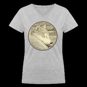 Shiba Inu Shirts Women's Shiba Inu Art Shirts - Women's V-Neck T-Shirt