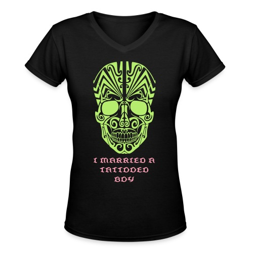 Tattooed Husband V-Neck Tee - Women's V-Neck T-Shirt