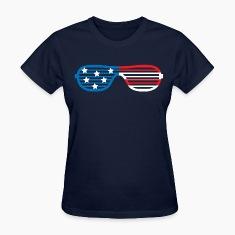 America Striped Glasses Women's T-Shirts