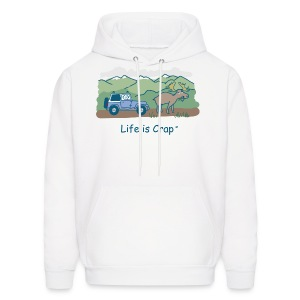Jeep Moose in Road - Mens Hooded Sweatshirt - Men's Hoodie
