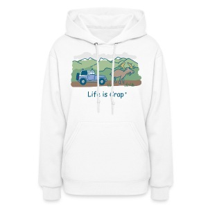 Jeep Moose in Road - Womens Hooded Sweatshirt  - Women's Hoodie