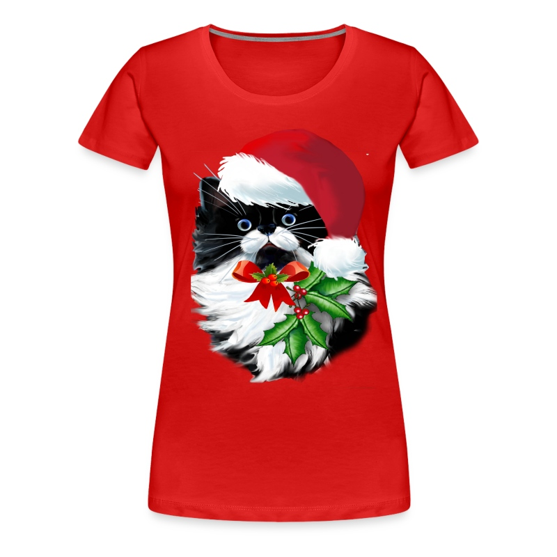 Tuxedo Kitty at Christmas - Women's Premium T-Shirt