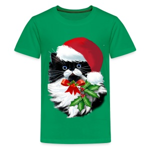 Tuxedo Kitty at Christmas - Kids' Premium T-Shirt