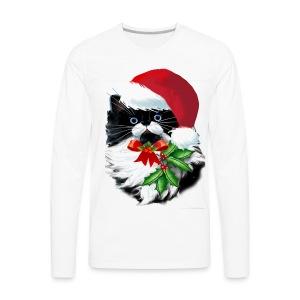 Tuxedo Kitty at Christmas - Men's Premium Long Sleeve T-Shirt