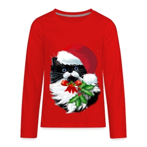 Tuxedo Kitty at Christmas - Kids' Premium Long Sleeve T-Shirt