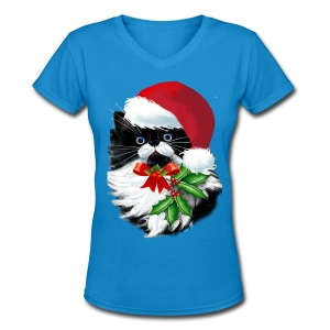 Tuxedo Kitty at Christmas - Women's V-Neck T-Shirt