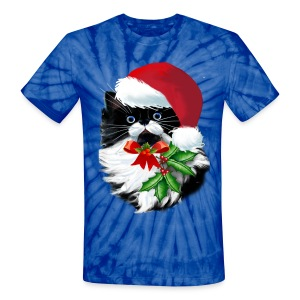 Tuxedo Kitty at Christmas - Unisex Tie Dye T-Shirt