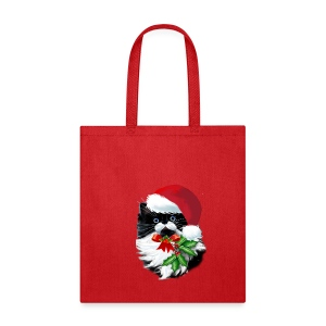 Tuxedo Kitty at Christmas - Tote Bag
